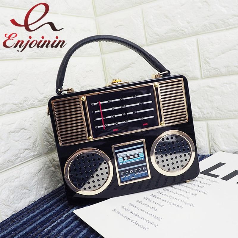 Vintage radio style ladies clutch bag shoulder bag box handbag female crossbody messenger bag