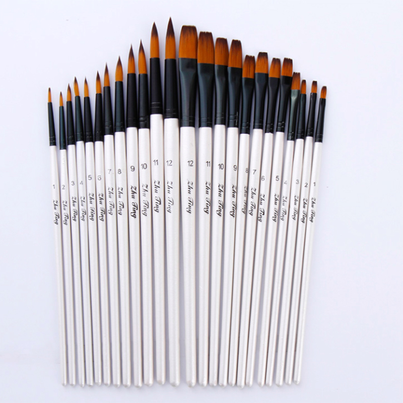 12Pcs Mixed Size Painting Brushes White Nylon Watercolor Brush Set Student Children Painter Art Supplies