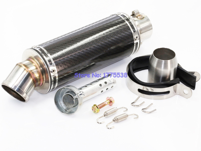 PHULEOVEO 51mm 2 inch Inlet Stainless Steel Carbon Fiber Motorcycle Motorbike Scooter Exhaust Pipe Muffler Tailpipe DB Killer