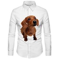 Cloudstyle Funny Dog Shirt Men New Spring Puppy Labrador Printed 3D White Shirts kawaii Tops Camisa Masculina Social Fashion 5XL