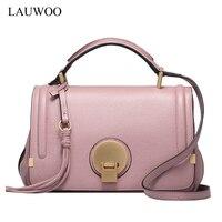 LAUWOO Latest Luxury Brand Women Handbag Casual Cow Leather Solid Soft Cover Shoulder Bag Lady Tassel