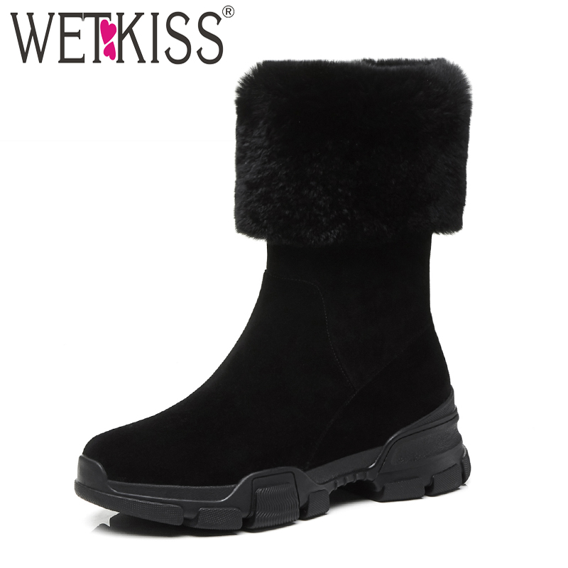 WETKISS Fur Snow Women Ankle Boots Zip Round Toe Footwear Plush Warm Female Boot Kid Suede Platform Shoes Woman 2018 New Winter zorssar 2017 new classic winter plush women boots suede ankle snow boots female warm fur women shoes wedges platform boots