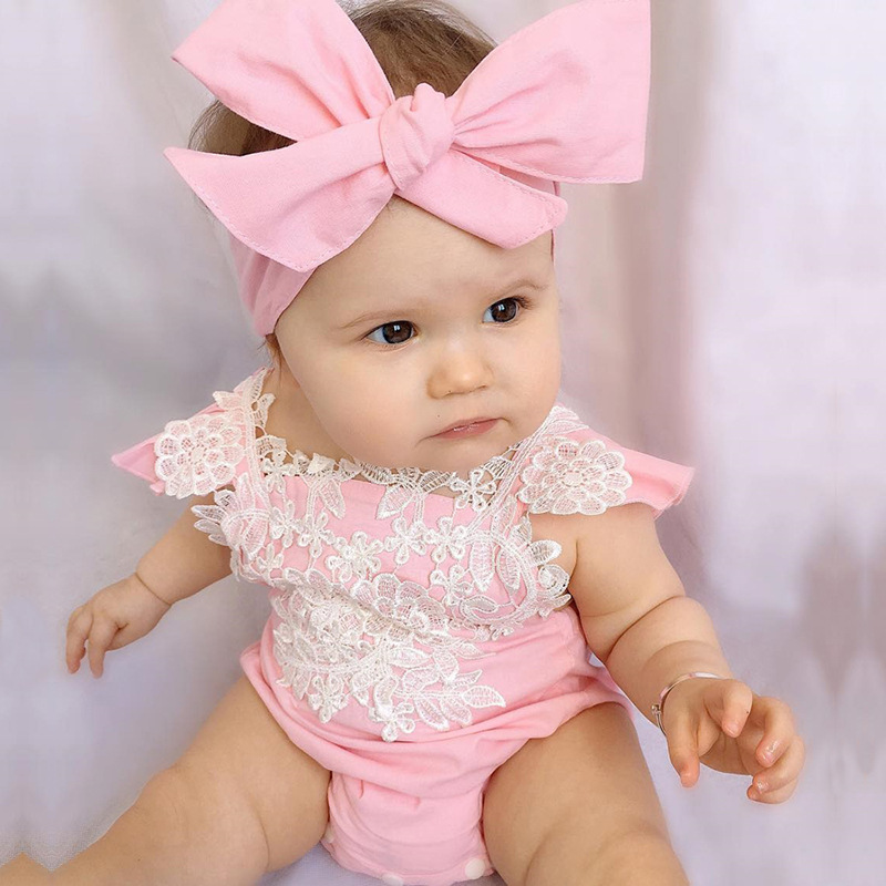 Newborn Baby Girl Clothes Floral Lace Baby Girl Rompers+Bow Headband 2pcs Baby Girls Clothing Set Summer Kids Costume For Girls us stock floral newborn baby girls lace romper pants headband outfit set clothes infant toddler girl brief clothing set playsuit