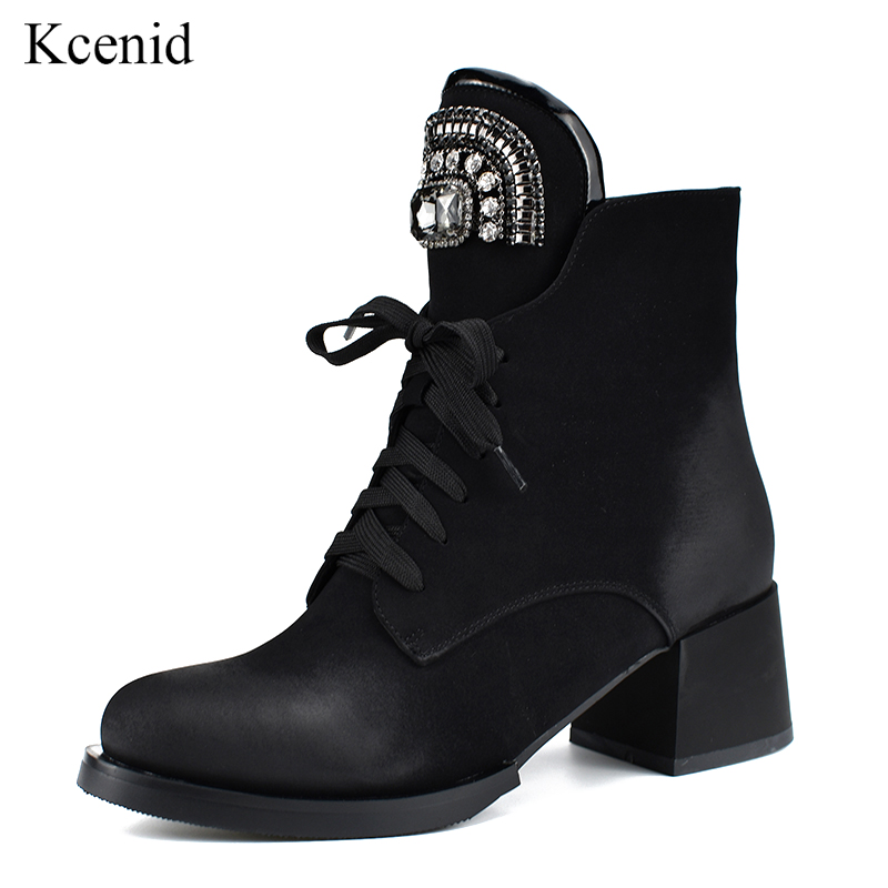 Black En Cristal Kcenid Zipper Lace Femmes Femelle Bottes De thin Chaussons Plate thick Blue Punk Bottines thin Black forme Hiver Brown Thin Plush Chaussures Blue Peluche Up Chaud thick wFwIa