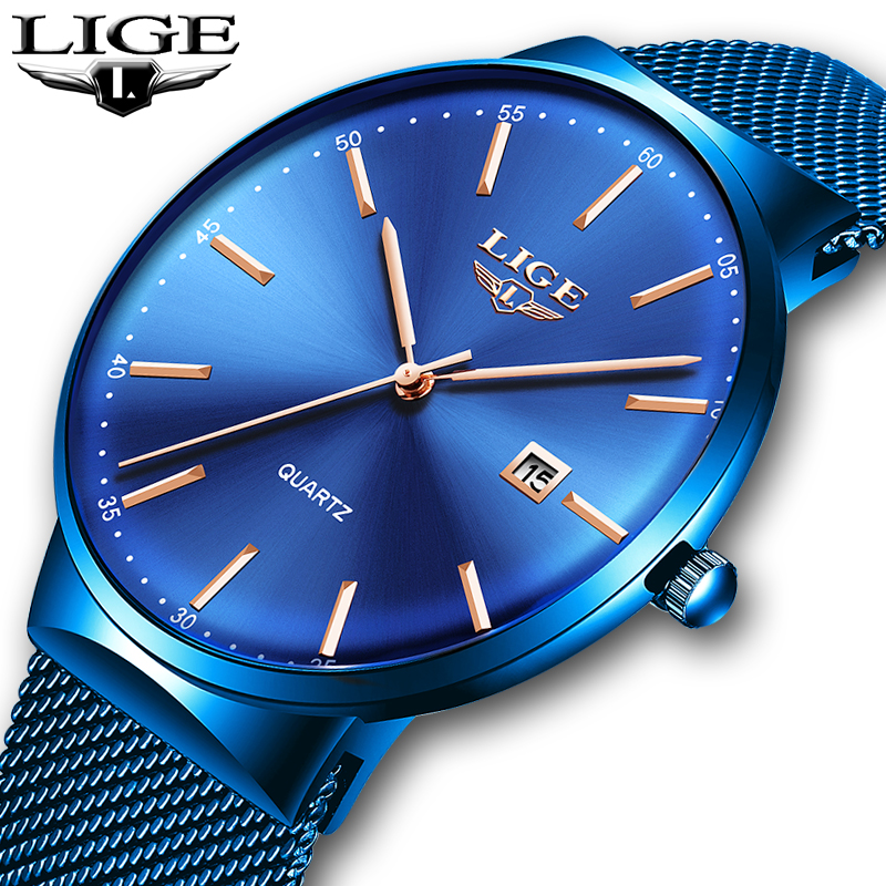 Mens Watches LIGE Top Brand Luxury Blue Waterproof Wrist Watches Ultra Thin Date Simple Casual Quartz Watch For Men Sports ClockMens Watches LIGE Top Brand Luxury Blue Waterproof Wrist Watches Ultra Thin Date Simple Casual Quartz Watch For Men Sports Clock
