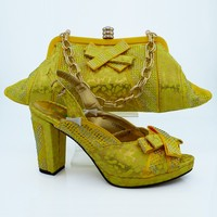 African Style Shoes And Matching Handbag Set Fashion Italian Woman High Heels Shoes And Bag Sets