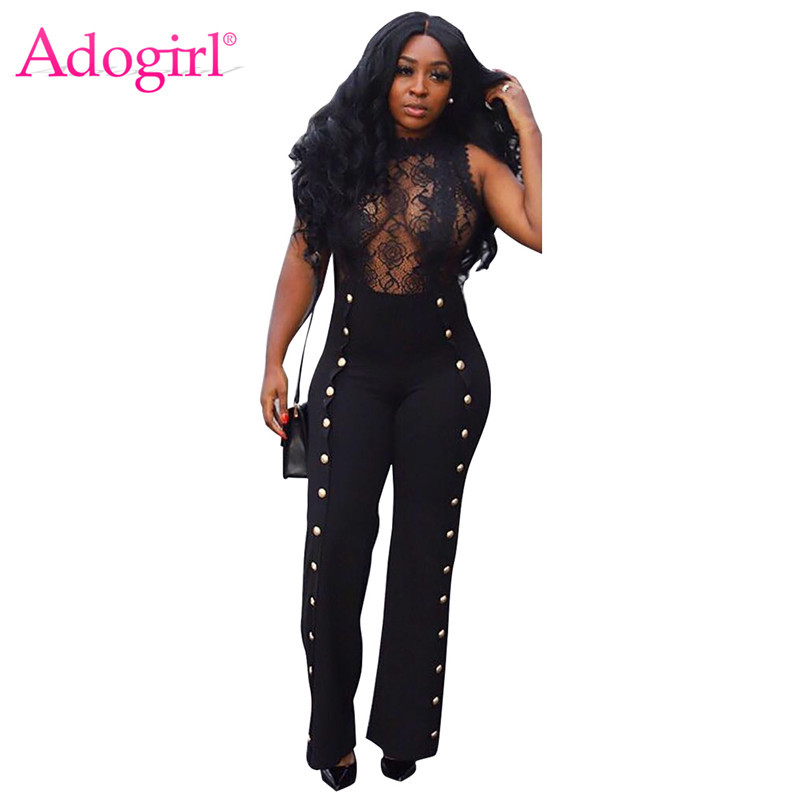 Adogirl Sheer Lace Patchwork Metal Buttons Jumpsuit O Neck Sleeveless Women Sexy Romper Wide Leg Pants Night Club Outfit Overall