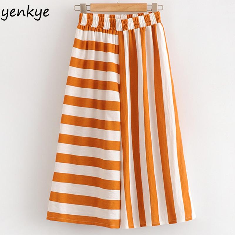 European Style Women Irregular Striped Summer Beach   Wide     Leg     Pants   Lady Elastic High Waist Casual Loose Trousers Plus Size
