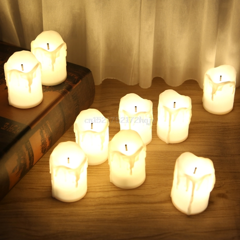 Plastic Battery Powered LED Candle Light Flameless Tealight Festival Wedding Decor D24 Dropship