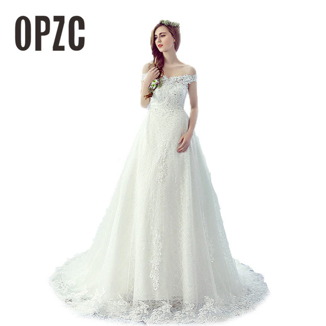 New Fashion Lace Sequined Boat Neck White Train Wedding Dresses