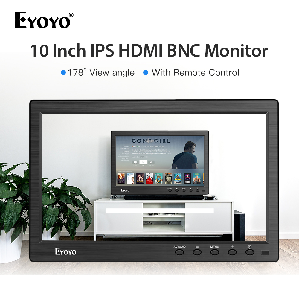 Eyoyo 10 polegada 1366x768 IPS LCD Monitor de Vídeo HDMI usb portátil monitor de BNC de Entrada AV CCTV Controle Remoto tela da câmera