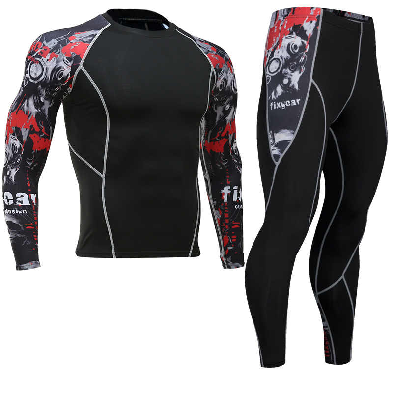 Mma rashguard heren multifunctionele fitness T-shirt set 3D print mannen broek mannen broek rashgard kit