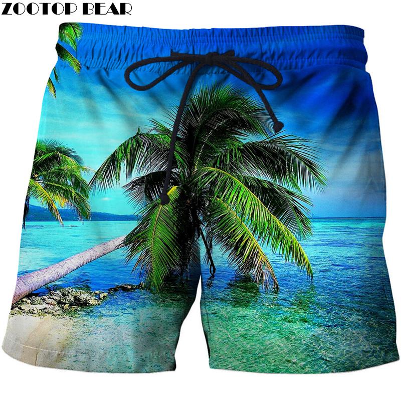 Loose Elastic Waist Men T Shorts Quick Dry Bodybuilding Breathable 3D Printer Clothing Short Summer Coconut Palm Tree Beach Male