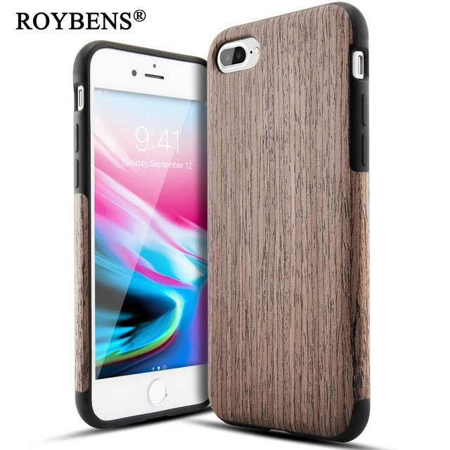 Roybens For iPhone 8 Case Bamboo Wood Soft Case For Apple