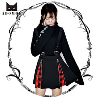Women High Waist Zipper Jumper Skirts Japan Darkness Girl Black Vintage Gothic Punk Lolita Hard Girl
