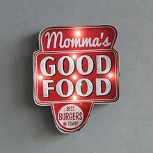 GOOD FOOD Large font b LED b font Lights Tin font b Sign b font Vintage
