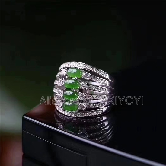 Beautiful 925 Sterling Silver Green HeTian Jade Beads Inlay Jasper Line Hollow Design Ring Adjustable Girl's Charm Gift Jewelry