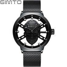 GIMTO Skeleton Skull Black Watch Man Watches 2018 Brand Luxury Mesh Stainless Steel Men Gold Fashion Mens Quartz