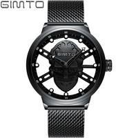 GIMTO Skeleton Skull Black Watch Man Watches 2018 Brand Luxury Mesh Stainless Steel Watch Men Gold Fashion Mens Watches Quartz