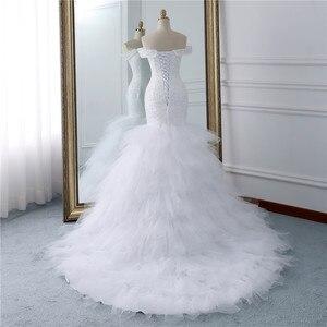 Image 3 - Fansmile vestidos de Encaje Vintage con cuentas, vestido de novia de sirena de talla grande, traje de boda largo de tren hecho a medida, FSM 432M de pavo