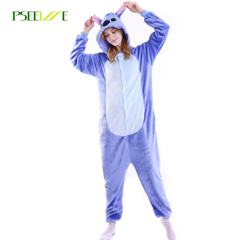 PSEEWE Flannel Animal Pajamas One Piece Stitch Onesie Winter Adult Cosplay Cartoon Animal Pijamas Women Men Warm Sleepwear