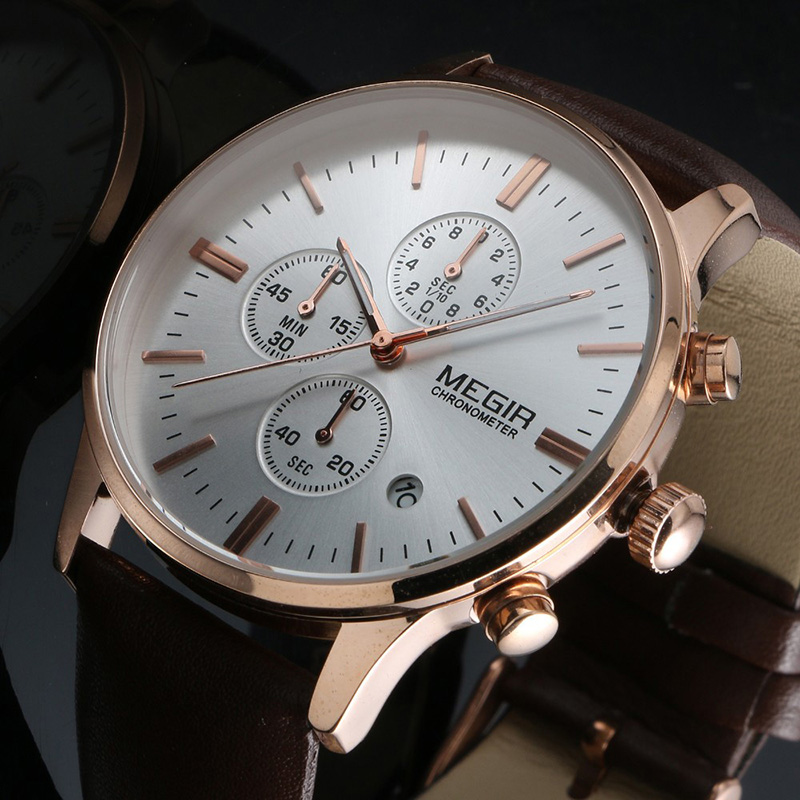 2016 New Luxury Brand Men Fashion Sports Watches Men's Quartz Chronograp 6 Dial Day Clock Man Leather Strap Business Wrist Watch 2016 new weide luxury brand quartz watches men dual time oversize clock men sports military leather strap fashion wrist watch