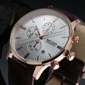 2016 nueva marca de lujo moda hombre relojes deportivos hombres cuarzo Chronograp 6 Dial día reloj correa de cuero del hombre de negocios reloj de pulsera