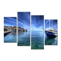 Wall Art Pictures Home Decor Posters Frame Living Room 4 Pieces Small Town Seaview HD Printed Modern Painting Canvas