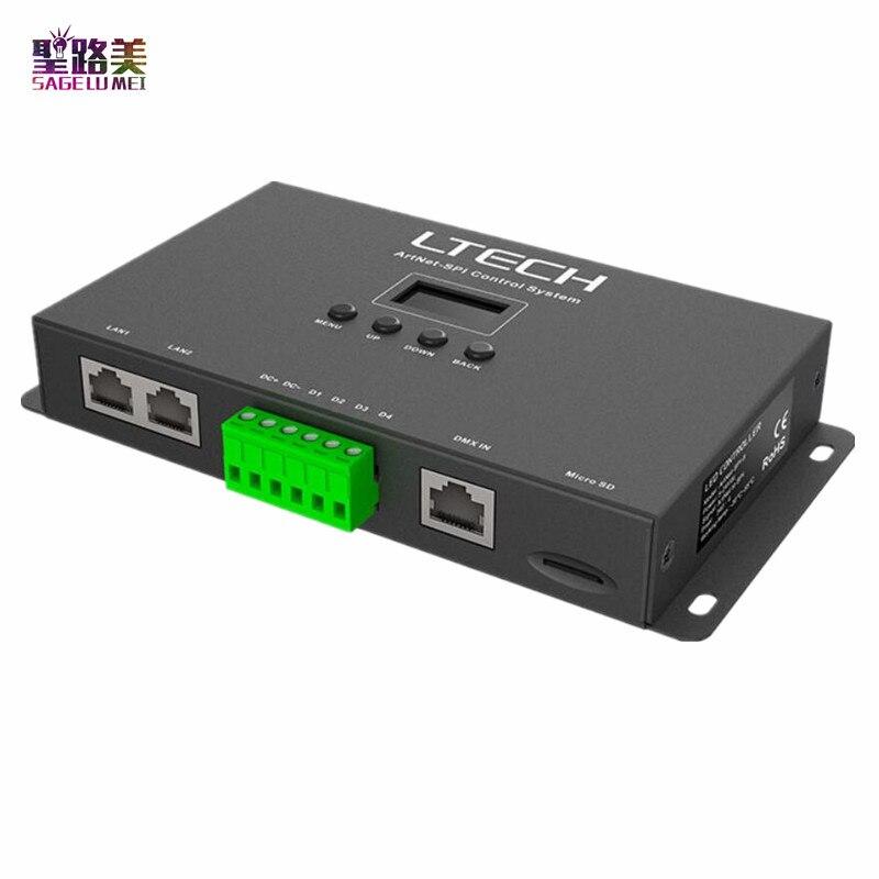 LTECH Ethernet Artnet à SPI contrôleur de pixels led DC5-24V SPI (TTL) sortie numérique conduisant 680 pixels 4 univers Interface DMX512