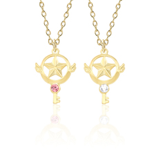 Fashion DIY Jewelry Enamel Alloy Pendant Sakura Magic Wand Pendant Hollow Star Gold Chain Necklace Beautiful Girl Child Gift floral enamel hollow out pendant necklace