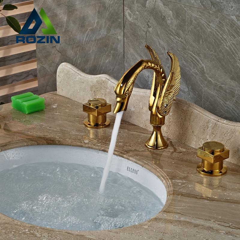 Luxury Swan Shape Brass Basin Faucet Dual Handle Golden Bathroom Mixer Taps Deck Mount modern square brass handles bathroom faucet dual knobe chrome bathroom swan mixer taps