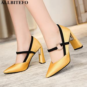 Image 2 - ALLBITEFO size:33 43 pu leather high heels party women shoes sexy women high heel shoes spring office ladies shoes women heels