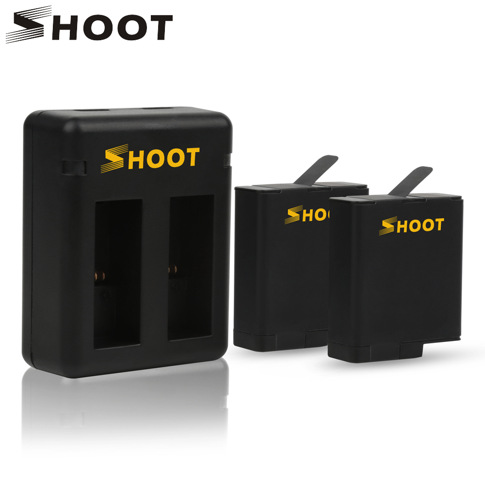 SHOOT Battery and Dual/Three Port Battery Charger for GoPro Hero 6 5 Black Sports Cam For GoPro Hero 6 5 Camera Accessories Set