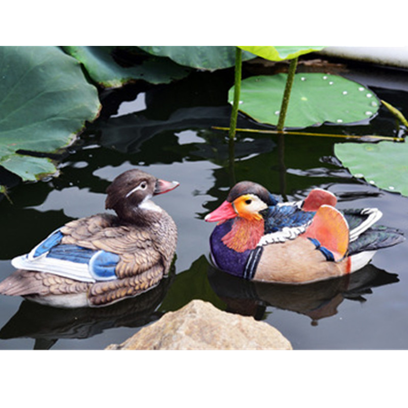 Creative Simulation Lifelike Mandarin Duck Sculpture Model Colophony Crafts Garden Furnishing Articles Pool Decoration G1054 big simulation mandarin duck a pair resin mandarin duck model about 29x15x16 5cm 1902