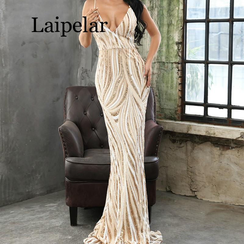 Laipelar 2019 Sexy gracieuse col en V hors épaule Sequin robes femme Maxi robe de soirée robes