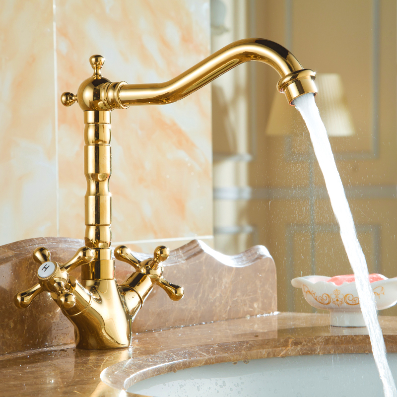 Vidric European copper-plated table basin faucet double handle single hole hot and cold mixer tap kitchen faucets wash basin tap