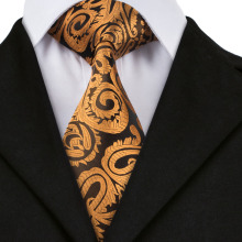 Dark Yellow Floral 100% Silk Tie, Hanky and Cufflinks Set.
