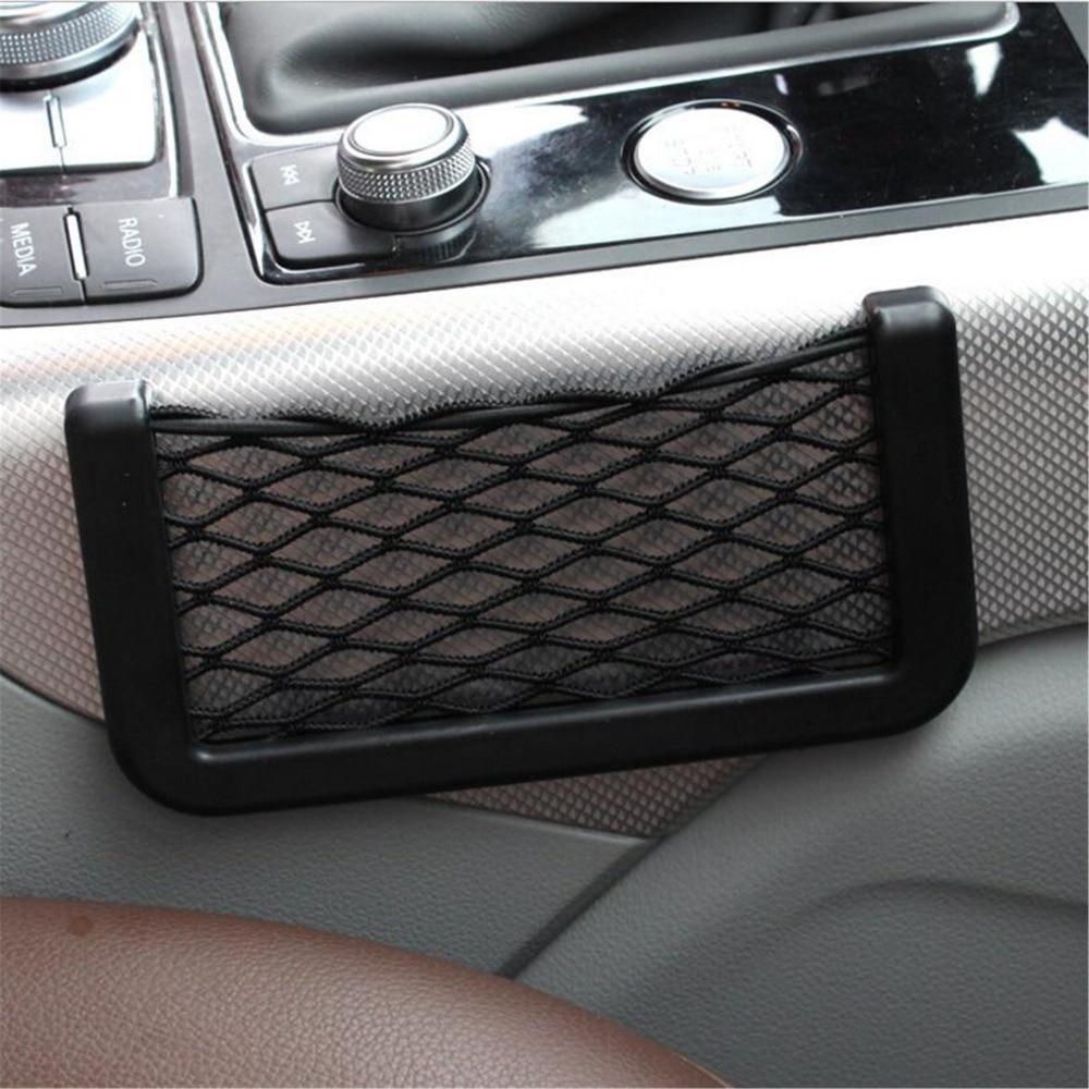 Universal Big 15*8CM black car seat side Net storage bag pocket For KIA Ceed Rio k3 k5 Forte Sorento Sportage R Hyundai SOLARIS
