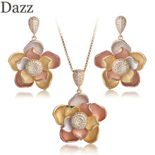 Dazz Three Tones Color Lotus Flowers Shape Pendant Necklace Dangle Earring Sets Matt Spray Sand Copper Jewelry For Women Bijoux