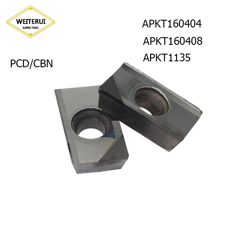 1 pc APKT160404 APKT160408 APKT1135 PCD CBN Pastilhas De Diamante Lâmina De Moagem Transformando Ferramenta Ferramenta Torno CNC