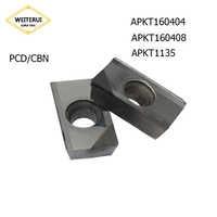1 Pc APKT160404 APKT160408 APKT1135 PCD CBN diamant insère lame fraisage outil de tournage tour outil CNC