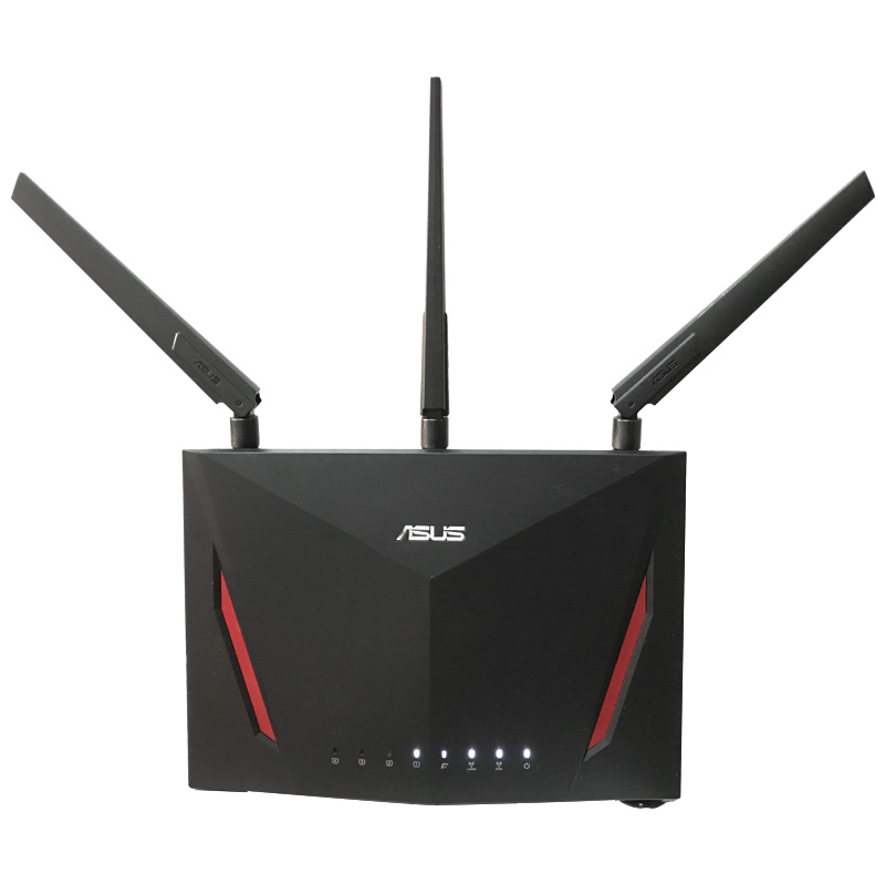 ASUS RT-AC86U AC2900 Dual-band Gigabit WiFi 802.11AC MU-MIMO (2.4 GHz / 5 GHz) 1600Mbps 4port Gigabit Ethernet Black Red USB3.1 asus rt ac88u ac3100 dual band gigabit wifi 802 11ac mu mimo 2 4 ghz 5 ghz 8port gigabit ethernet black red 3g 4g