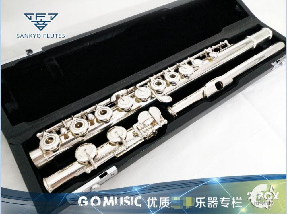 Sankyo CF301 flauta Silversonic en línea E llave Split plata chapada flauta C Tune 16 agujeros abrir llave francesa flauta