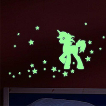 Fluorescent Unicorn and Stars Wall Sticker