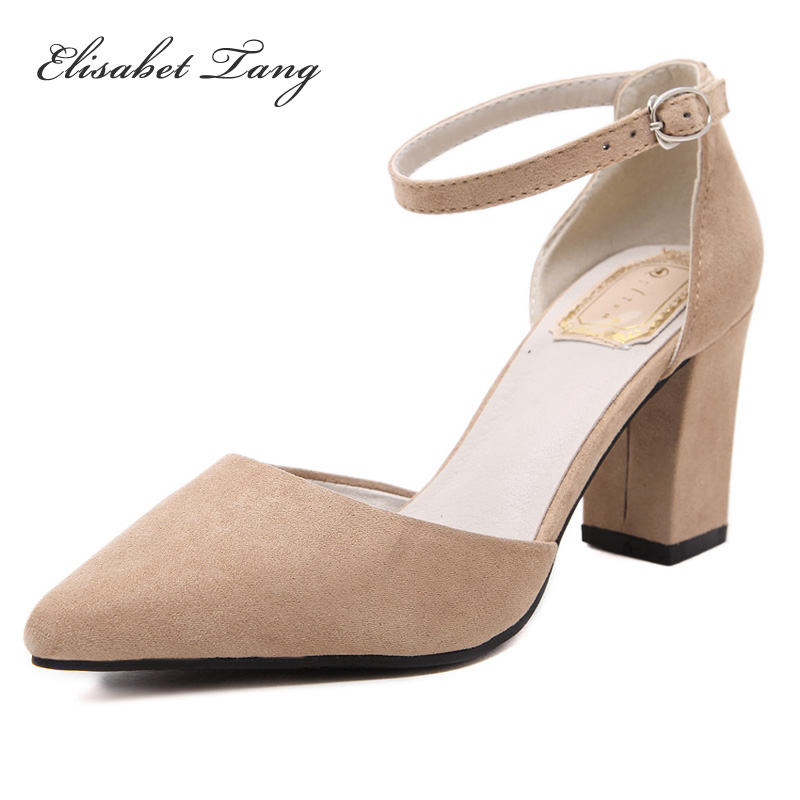 Fashion High Heels Square Pointed Toe Summer Party Office Shoes Women Pumps Flock Buckle Strap Size 39 meotina high heels shoes women pumps party shoes fashion thick high heels pointed toe flock ladies shoes gray plus size 10 40 43