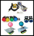 1 kit for Arcade to USB controller 2 player MAME Multicade Keyboard Encoder with lighting joystick and button