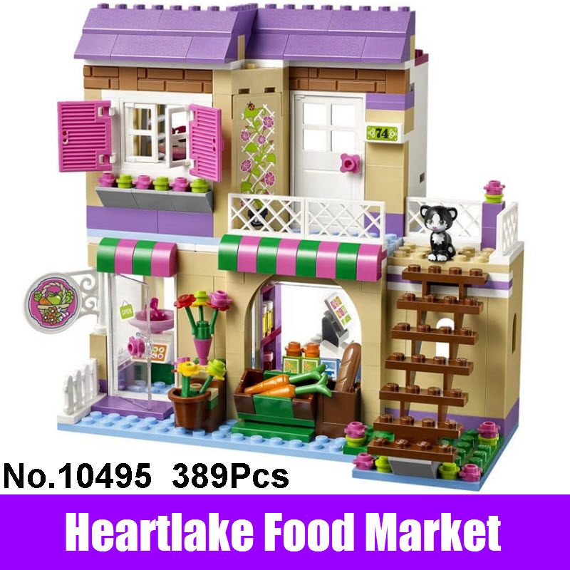 New LEPIN Friends Heartlake Food Market 41108 Set Building Blocks Girls Bricks Compatible BELA 10495 Christmas Toys For Children bela 10439 compatible lepin city arctic helicrane building blocks policeman figure toys for children girls