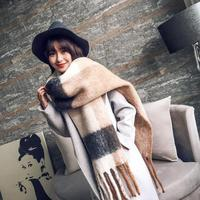 Winter Warm Scarf For Female Gray Pink Color Block Scarf Women S Plaid Blanket Scarf Thick