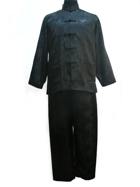 Черный традиции китайских Для мужчин шелковый атлас куртка брюки кунг-фу костюм Бесплатная доставка Размеры s m l xl XXL M3021