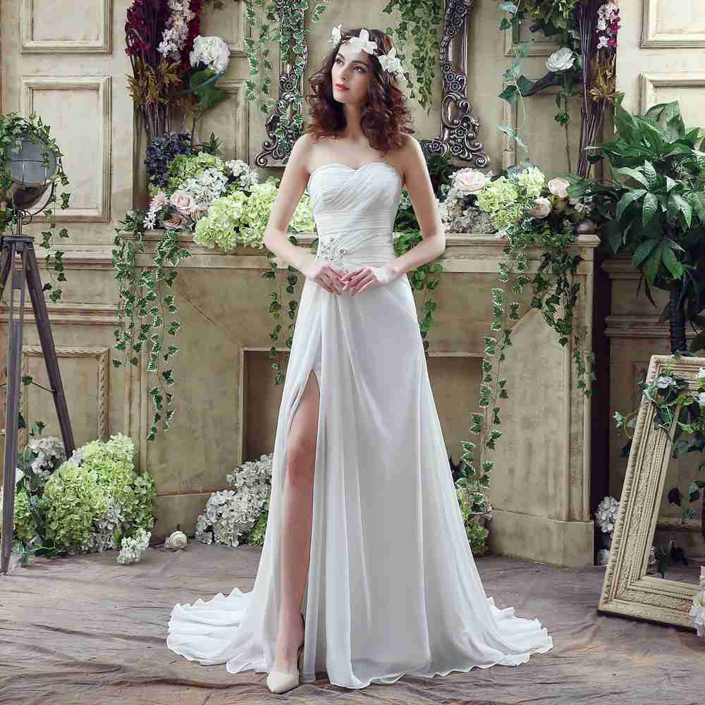 New Sweetheart Split Side White Wedding Dress Bead Sash Sweep Train Bridal Vestidos De Gala Pleat Lace-up Weddding Plus Size